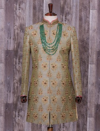 Grey designer silk wedding wear indo western