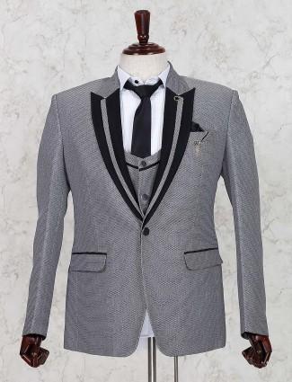 Grey designer terry rayon fabroc coat suit