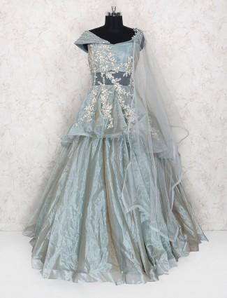 Grey designer wedding wear gown