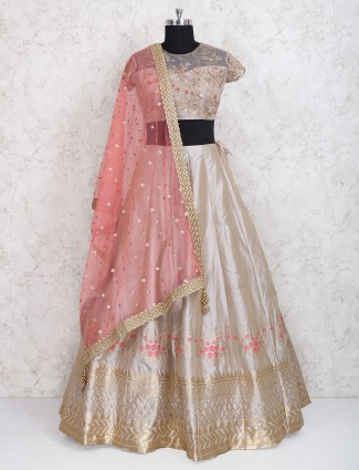Grey designer wedding wear lehenga choli