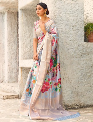 Grey digital print saree in cotton silk for wedding