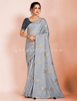 Grey dola silk reception occasion saree