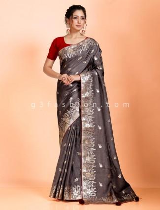 Grey dola silk saree in festive wear