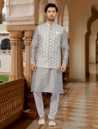 Grey exclusive cotton silk waistcoat set