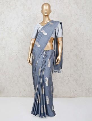 Grey festive get together saree in dola silk