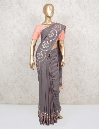 Grey festive saree design in dola silk