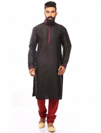 Grey festive wear dupion silk Kurta Suit
