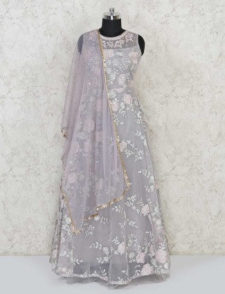 Grey floor lentgh anarkali salwar kameez for festives