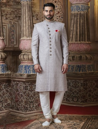 Grey georgette designer latest sherwani