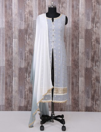Grey georgette fabric palazzo suit