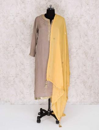 Beige georgette fabric punjabi palazzo suit