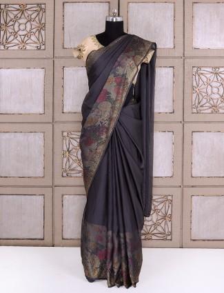 Grey georgette fabric saree