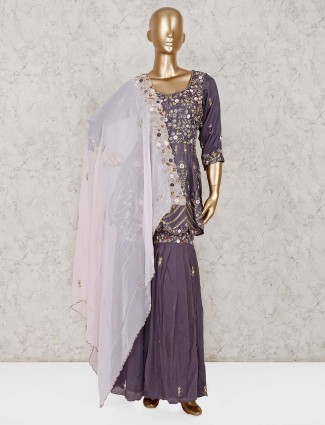 Grey georgette wedding punjabi sharara suit