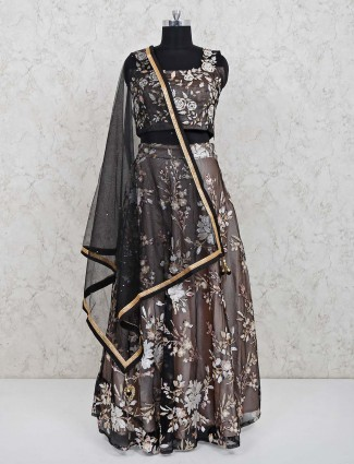Grey georgette wedding special lehenga choli
