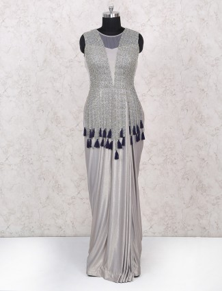 Grey gown for party wear