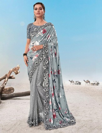 Grey half n half pattern saree for party in organza tissue silk and lyrca