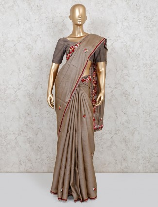 Grey handloom cotton wedding saree