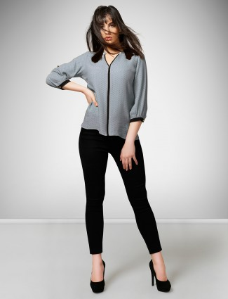 Grey hue casual wear top in crepe