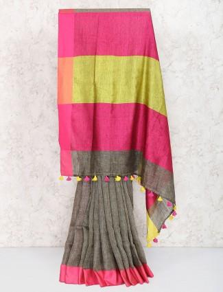 Grey hue classic saree in linen