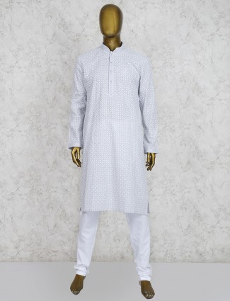 Grey hue cotton party wear kurta suit