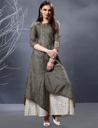 Grey hue cotton punjabi sharara suit