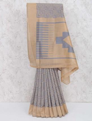 Grey hue cotton silk classic saree
