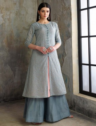 Grey hue cotton silk pakistani festive sharara suit