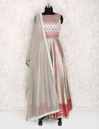 Grey hue cotton silk floor length suit