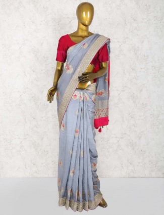Grey hue cotton silk gorgeous sari