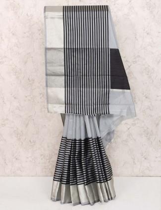 Grey hue cotton silk saree