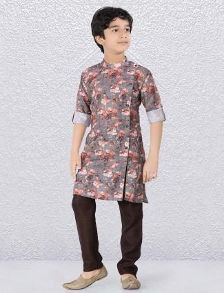 Grey hue designer flower printed kurta suit