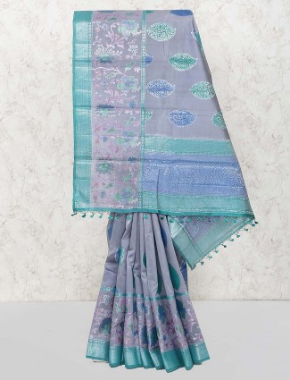 Grey hue festive saree in semi silk