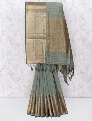 Grey hue festive wear saree in chanderi silk