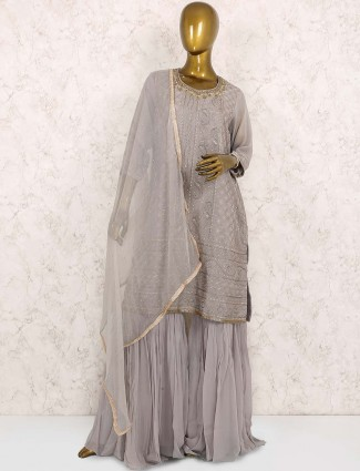 Grey hue georgette festive punjabi sharara suit