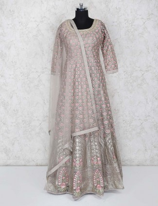 Grey hue gorgeous floor length anarkali salwar suit