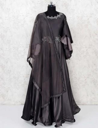 Grey hue gorgeous satin gown