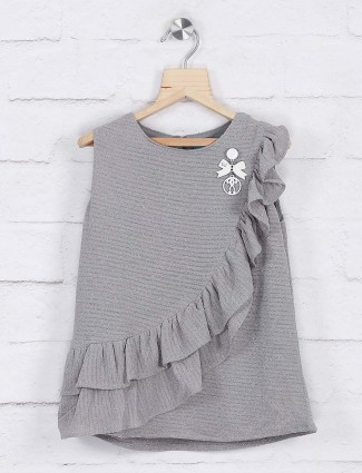 Grey hue knitted casual top