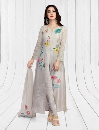 Grey hue linen festive salwar suit