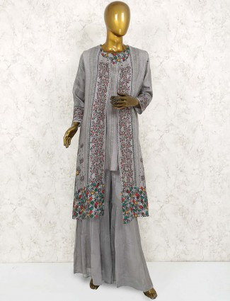 Grey hue linen printed punjabi sharara suit