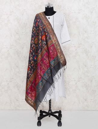 Grey hue lovely pashmina silk women dupatta