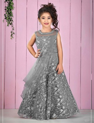 Grey hue net fabric pretty designer floor length gown