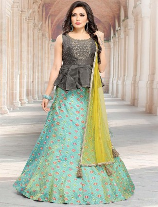 Grey hue peplum style party lehenga choli