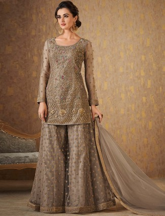 Grey hue punjabi palazzo suit in raw silk