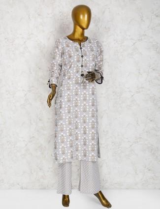 Grey hue punjabi salwar suit in cotton