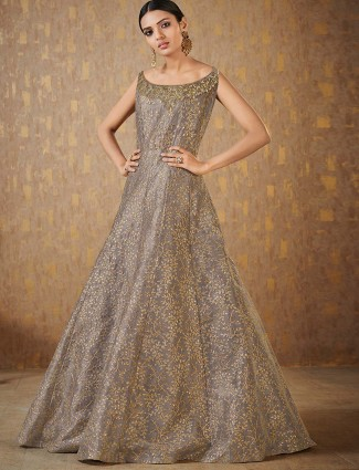 Grey hue raw silk anarkali suit