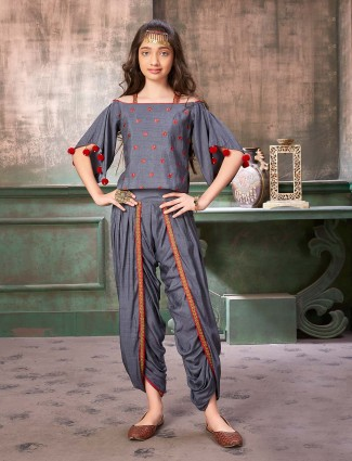Grey hue raw silk punjabi dhoti suit