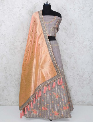 Grey hue raw silk semi stitched lehenga choli
