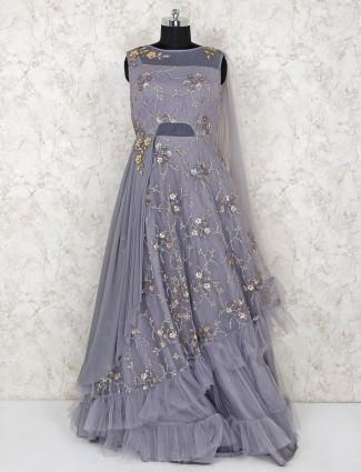Grey hue rufflel gown in net fabric