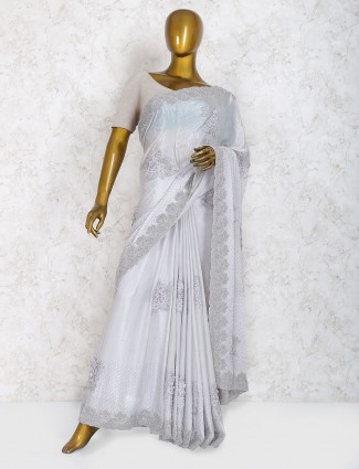 Grey hue saree in marble chiffon