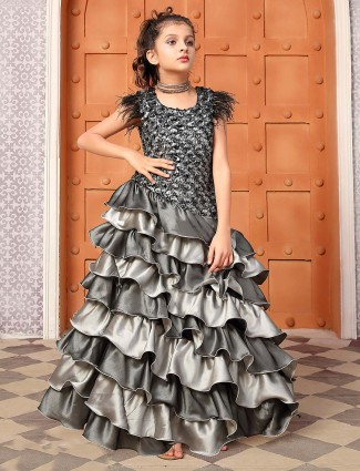 Grey hue satin fabric layer style gown